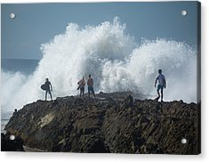 Surfers On The Beach, Coral Sea Acrylic Print
