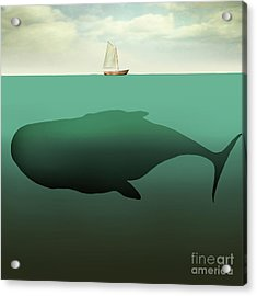 Surreal Illustration Of Little Sailboat Acrylic Print by Valentina Photos
