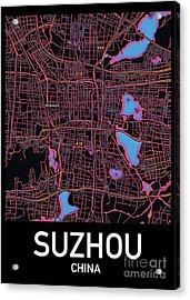 Suzhou City Map Acrylic Print