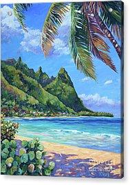 Swaying Palm On Makua Beach Acrylic Print