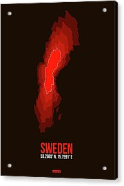 Sweden Radiant Map 1 Acrylic Print