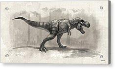 T-rex Drawing Acrylic Print by Steve Goad