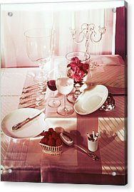 Table Setting With Pink Linens Acrylic Print