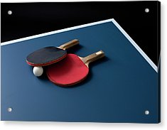 Table Tennis Bats And A Ball On A Table Acrylic Print