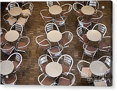 Tables And Chairs In A Restaurant Acrylic Print