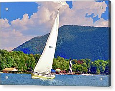 Tacking Lighthouse Sailor, Smith Mountain Lake Acrylic Print