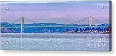 Tacoma Narrows Bridge Landscape Acrylic Print by Jean OKeeffe Macro Abundance Art