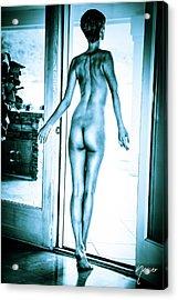 Tall Baby Blue Nude Boyish Brunette Acrylic Print