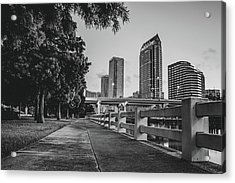 Tampa Florida Riverwalk View In Monochrome Acrylic Print by Gregory Ballos