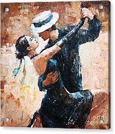 Tango Dancers Digital Painting, Tango Acrylic Print