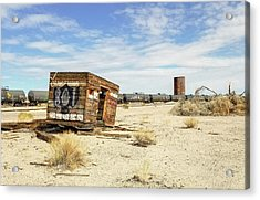 Tank Cars On Siding Of Arizona And California Railroad In California Desert Acrylic Print