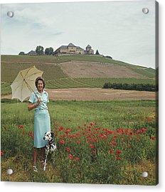 Tatiana On The Rhine Acrylic Print by Slim Aarons