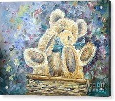 Teddy Bear In Basket Acrylic Print