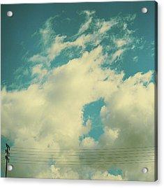 Telephone Lines Against Cloudy Blue Sky Acrylic Print by Zen Sekizawa