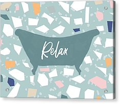 Acrylic Print featuring the mixed media Terrazzo Bath Relax- Art By Linda Woods by Linda Woods