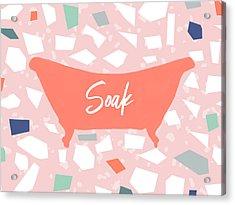 Acrylic Print featuring the mixed media Terrazzo Soak Bathtub- Art By Linda Woods by Linda Woods