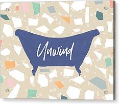 Acrylic Print featuring the mixed media Terrazzo Unwind Bathtub- Art By Linda Woods by Linda Woods