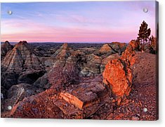 Terry Badlands Sunrise Acrylic Print by Leland D Howard