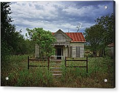 Texas Farmhouse In Storm Clouds Acrylic Print