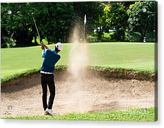 Thai Young Man Golf Player In Action Acrylic Print