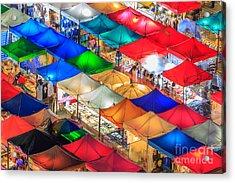 Thailand Night Market, Street Night Acrylic Print