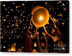 Thais Family Release Sky Lanterns To Acrylic Print by Patrick Foto