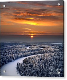 The Aerial View Of Snow-covered Winter Acrylic Print