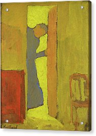 The Artists Mother Opening A Door - Digital Remastered Edition Acrylic Print