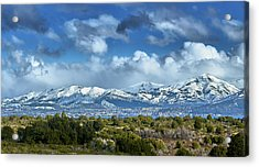 The City Of Bariloche And Landscape Of Snowy Mountains In The Argentine Patagonia Acrylic Print