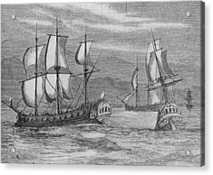 The First Fleet Acrylic Print by Hulton Archive