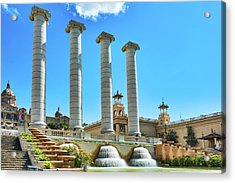 Acrylic Print featuring the photograph The Four Columns And The National Art Museum In Barcelona by Eduardo Jose Accorinti