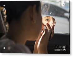 The Girl Is Doing Makeup In The Car Acrylic Print by Nattapan72