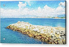 Acrylic Print featuring the digital art The Jetty In Manzanillo, Mexico by Kenneth Montgomery