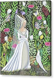 The Lady Vanity Takes A Break From Mirroring To Dream Of An Unusual Garden  Acrylic Print