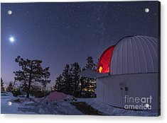 The Moon Lights Up The Observatory Acrylic Print