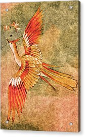Acrylic Print featuring the tapestry - textile The Peahen's Gift - Kimono Series by Susan Maxwell Schmidt