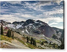 Acrylic Print featuring the photograph The Peak Of Whistler Mountain With Amazing Cloud Formations by Pierre Leclerc Photography