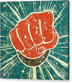 The Punch Fist Of Red Color On A Acrylic Print by Verbena