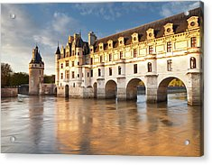 The River Cher And Chateau Chenonceau Acrylic Print