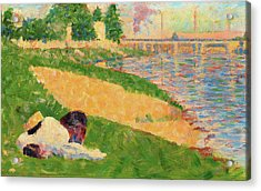 The Seine With Clothing On The Bank - Digital Remastered Edition Acrylic Print