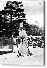 The Skiing Chef Acrylic Print by Fox Photos