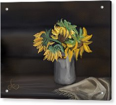 Acrylic Print featuring the painting The Sun Flowers  by Fe Jones