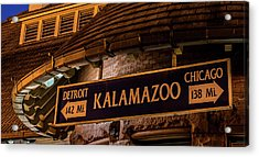 The Train Station Sign In Kalamazoo Acrylic Print