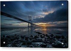 Acrylic Print featuring the photograph The Vasco Da Cama Bridge In Lisbon Portugal by Michalakis Ppalis