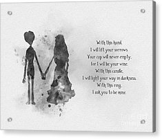 The Wedding Vows Black And White Acrylic Print