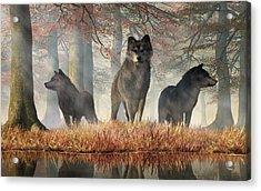 Acrylic Print featuring the digital art The Wolves Of Autumn by Daniel Eskridge