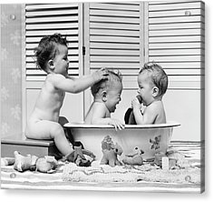 Three Babies In Wash Tub, Bathing Acrylic Print by H. Armstrong Roberts
