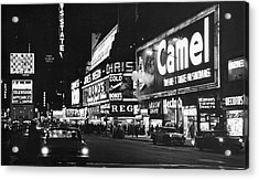 Times Square At Night Acrylic Print by Fred W. McDarrah