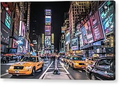 Times Square At Night With Famous Nyc Acrylic Print by Ed Norton