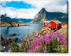 Tipical Red Fishing Houses In A Harbor Acrylic Print